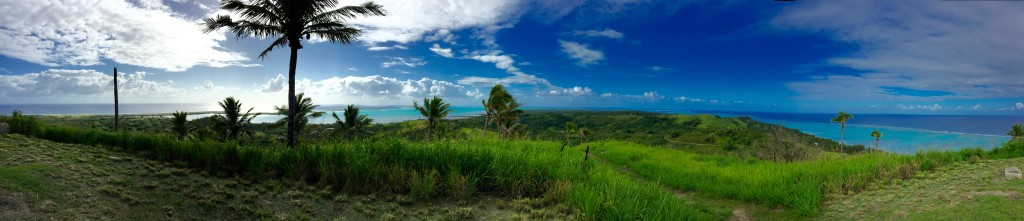 Panoramic view of Aitutaki viewed from the Maunga Pu Summit.