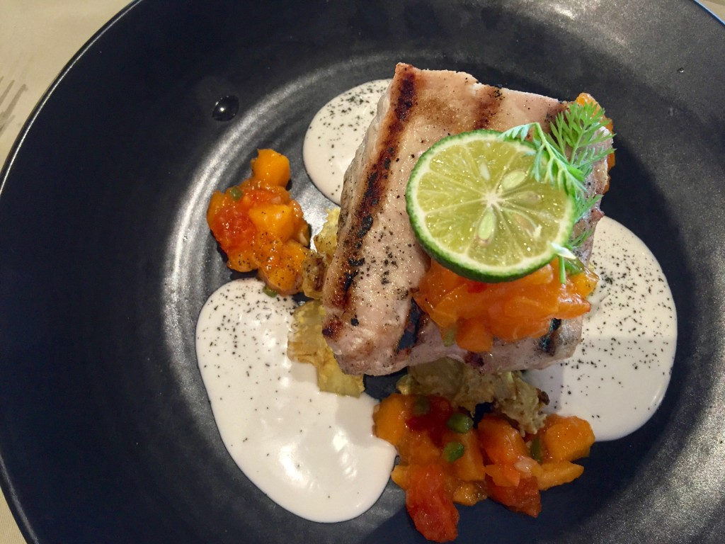 Grilled Marlin with pawpaw and coconut milk sauce at $37.