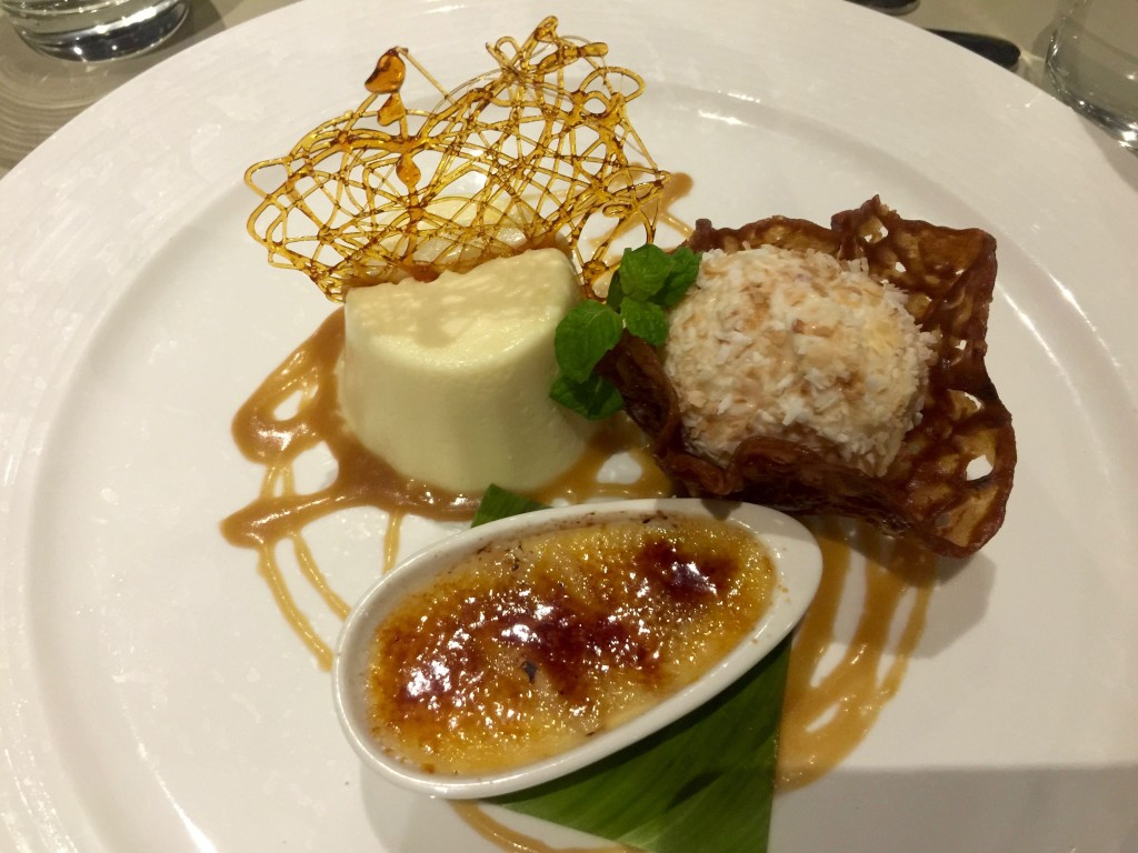 Triple Dessert consists of ice cream with caramelised crispy, coconut wrapped ball and cream at $15.