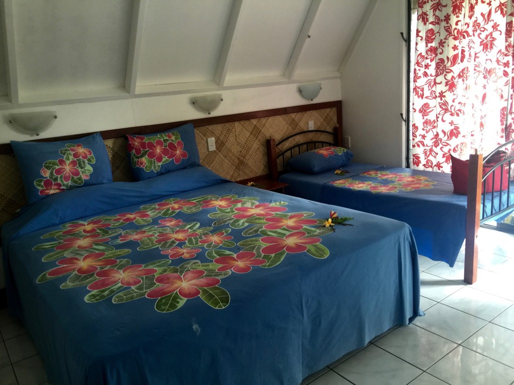 Bold floral prints are typical for Aitutaki accommodation and even the rest of the Pacific Islands.