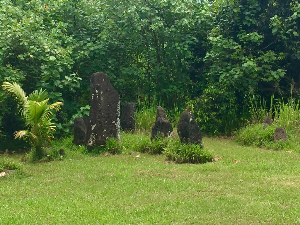 The sacred stone site. One among the many erected by the first inhabitants in the Aitutaki Island.
