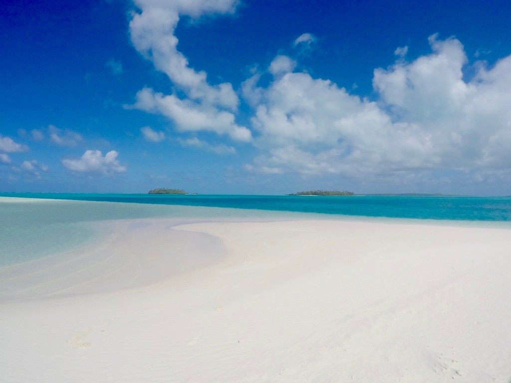 A small patch of powdery white sand at the lagoon called Heaven Island.