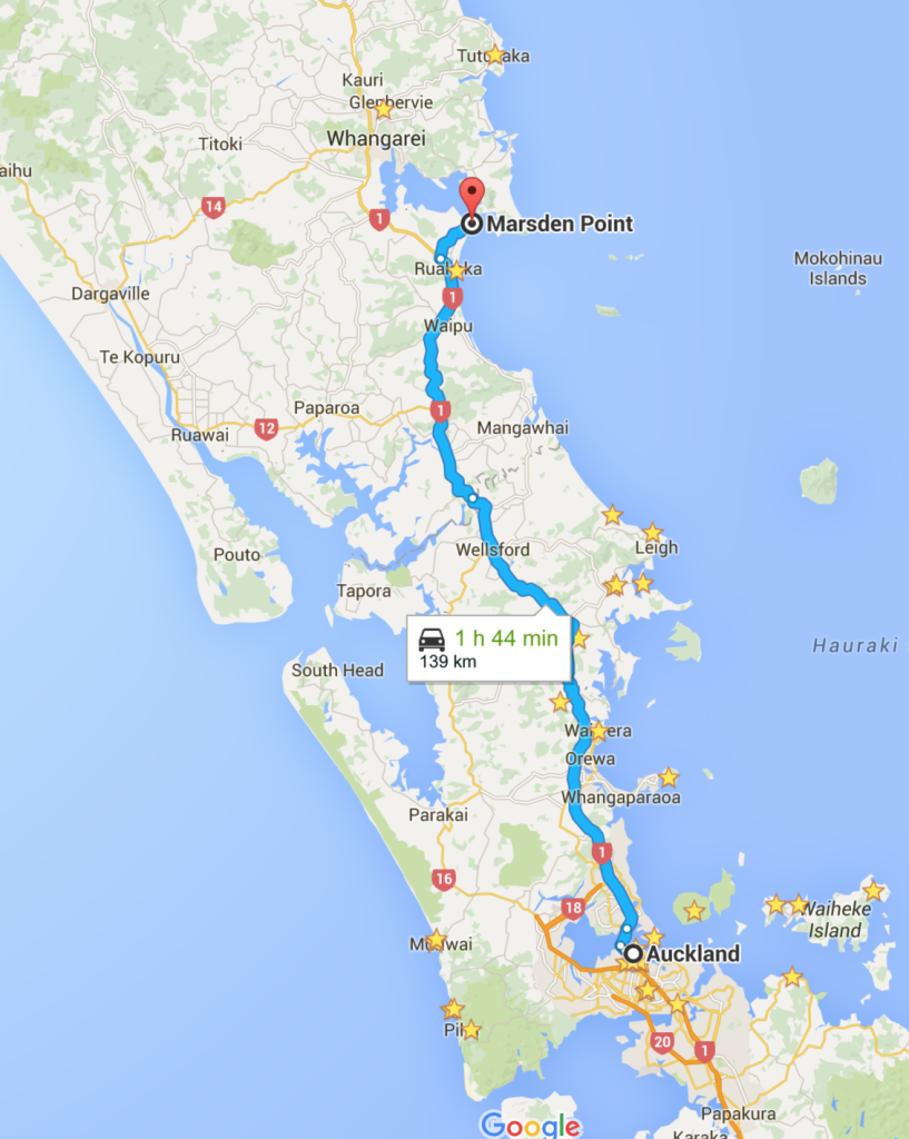 A 1-hr 44-min drive from Auckland to Marsden Point.