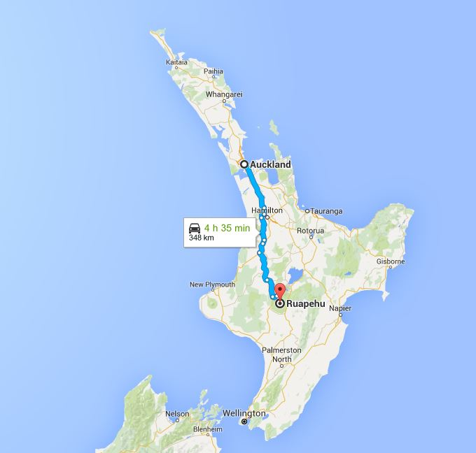 Auckland to Mt Ruapehu Route